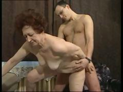 German brunette granny gets a younger cock to screw her rough sex