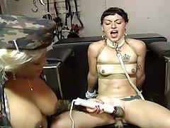 Hot busty goddess gives her slave some bondage initations