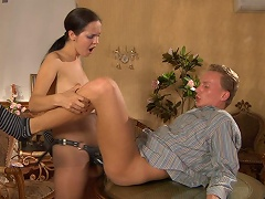 Nasty honey teases her chap with a strap-on dildo previous to plugging his...