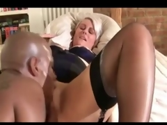Silver-haired British MILF drilled by a BBC