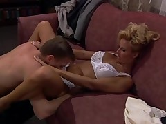 Vintage blonde designation babe eaten out on the couch