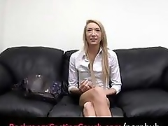 Golden-haired on high casting couch gets naked added to foodstuffs added to bangs cock