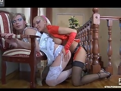 Erotic crossdresser smoothens his nylons pleasurable be fitting of a fuck with a ding-dong diva