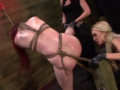 BDSM threesome with lustful lesbians