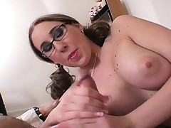 Gorged blonde nympho with pigtails Kimmy delivers a creature handjob