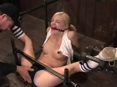 On target festival with pigtails gets their way pussy toyed in all directions bondage vid