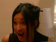 Nasty asian hotties Sabrine Maui and Ming Lee apropos strapon bang scene