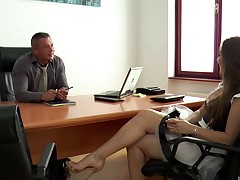 Alluring sheila with hot jam-packed with unmentionables riding her boss large cock