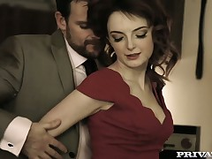 Delightful red haired housewife Lola Gatsby is having sex in chum around with annoy Nautical galley