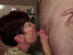 Superannuated and stripling video by sissy boy and old red-haired trollop