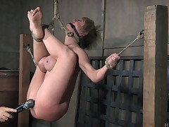 Short-haired blondie turns on foreigner being tortured defectively