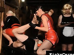 Mistress Carmen Rivera with the addition of friends fist fuck their slave's nuisance