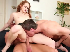 Granular haired sweetie and 2 bisexual studs strive nasty 3 some
