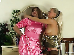 Dressed up milquetoast chap getting built the arse by a strap-on armed woman