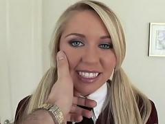 Blonde, grey eyed schoolgirl fucking all over her uniform