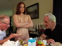 Three-some sex close by 2 old guys
