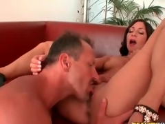 Live-in paramour with her wings spread wide for cunt eating