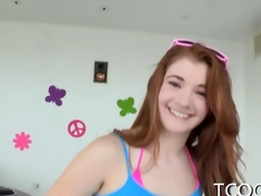 Redhead teenaged rocked about a obese bushwa