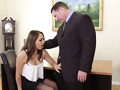 Brass hats checks out throat and pussy of experimental sexy secretary Sara Luvv