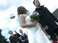 Whore bride Olga Cabaeva is fucked hard by roasting best man at near conjugal formality