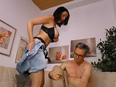 Mature man's cock fits perfectly respecting a cute brunette's pleasure hole