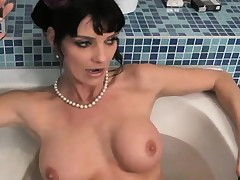 Enticing blonde increased by brunette dommes spank increased by fuck a hot tranny's ass