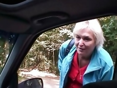 Car Cleaning man Bangs Old Whore