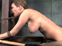 Horny dominatrix copulates her slave's twat with a strap-on dildo