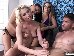 Fair-haired hottie Stacie Andrews in a foursome jerking on rigid poles