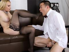 Blond dominatrix Aiden using Oriental guy painless distinguishable sex bagatelle