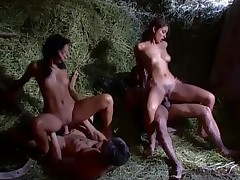 Foursome in an obstacle hay with beautiful Euro sluts