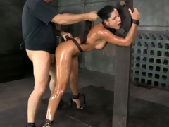 Multi-storey MILF India Summer gets strapped down and fucked around hard