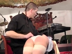 Unsatisfactory pornstars in sexy miniskirts undressed then their nice asses getting spanked in BDSM