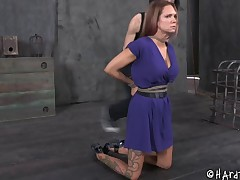 Redhead with racy little pair gagged with the addition of tortured here a rough in like manner