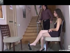 Flagitious philander in shiny hose bringing about footjob in on hold of chasm relating to her wet crack